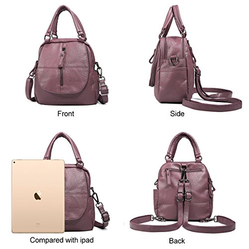 Handbag PU Fashion Women Multifunction Soft Purple High Backpack Layer Leather Double end Large Backpack Capacity JOSEKO Brown xF4F0wzqR
