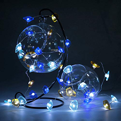 Anpro 13 Ft 40 LED Decorative String Lights, Sea Glass Beach Decor Theme Battery Operated Remote for Indoor and Outdoor IP44 Waterproof for Beach Party Festival Birthday and Bedroom Decoration