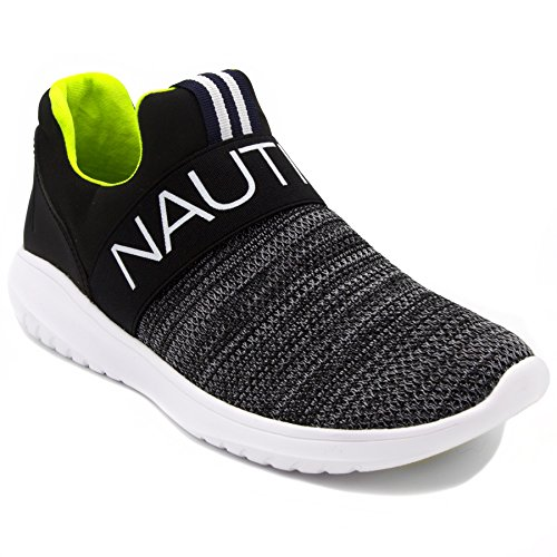 (Nautica Women Fashion Slip-On Sneaker Jogger Comfort Running Shoes-CANVEY-Black-8)