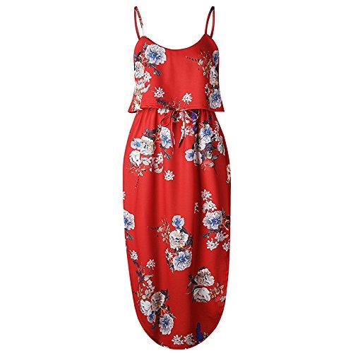 XINGMU Estampados Florales Vestidos De Verano Vestidos De Mujer De Amarre Correa Irregulares En La Playa 7