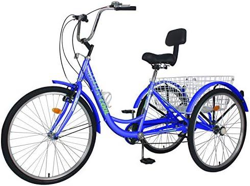 24/'/' 7 Speed Adult Trike Tricycle 3-Wheel Bike Bicycle Bright Red with Basket US