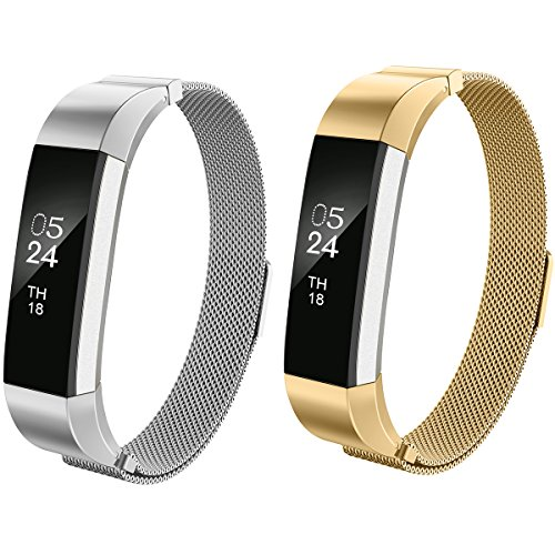 AIUNIT Fitbit Alta Bands Milanese,Fitbit Alta HR Replacement Band Small Large for Women Men Girls Boys, Loop and Magnet Lock Design Metal Accessories Wristband Strap