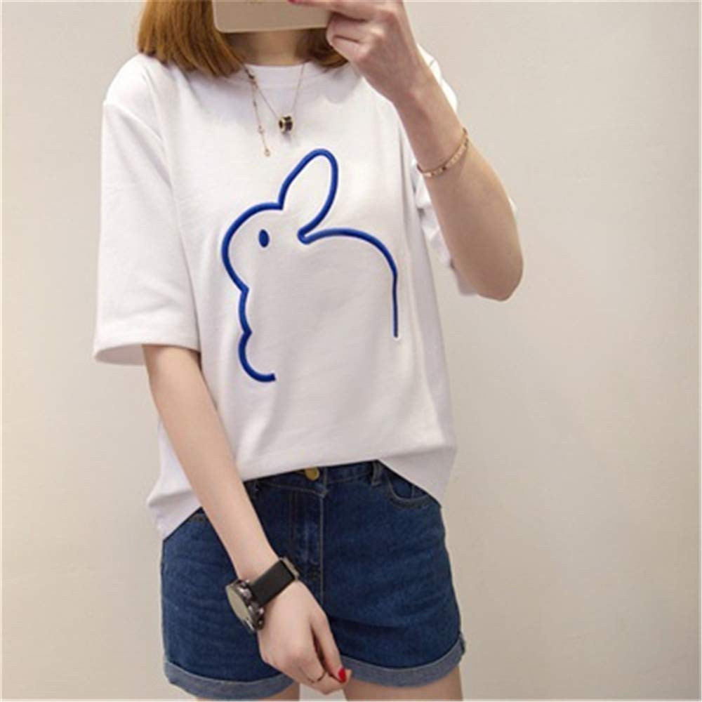 PARTyu Womens Cartoon t-Shirt Embroidery Loose Large Size Bottoming Shirt