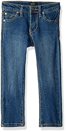 - DKNY Boys' Big Mott Straight Fit Stretch Denim Jean, Medium Indigo, 12