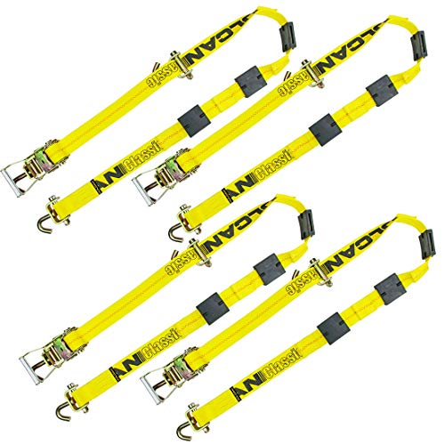 VULCAN Rolling Idler Three Cleat Autohauler Car Tie Down - 120 Inch, 4 Pack - Classic Yellow - 3,300 Pound Safe Working Load