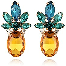 OREOLLE Pineapple Earrings Jewelry- Tropical Yellow Pineapple Studs- Crystal Glass Beads Earring for Women