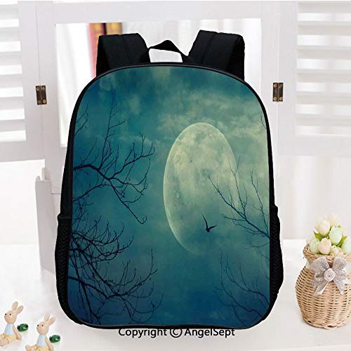 Preschool Backpack for Kids Girls Toddler,Halloween with Full Moon in Sky and Dead Tree Branches Evil Haunted Forest Kindergarten School Bookbags,Blue -