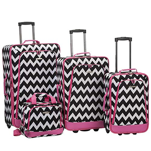 (Rockland 4 Piece Luggage Set, Pink Chevron, One Size)