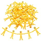 LOKIPA 50 x Yellow Stretchy Smiley Bendy Men For Kids Party Bags Fillers Stress Relieve.