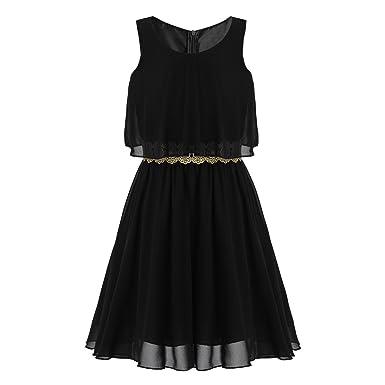 e4d7f77041d3 iiniim Kids Big Girls Lace Chiffon Wedding Pageant Party High Low Hem  Flower Girl Dress with