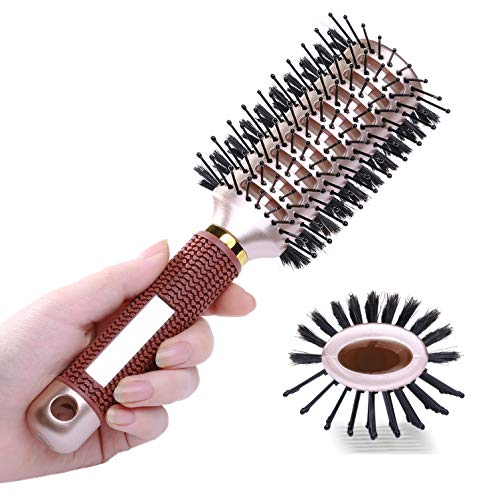 Oval Styling Vent Hair Brush for Blow Drying, Double Sided Boar and Nylon Bristle Brush for Medium Short Length Hair