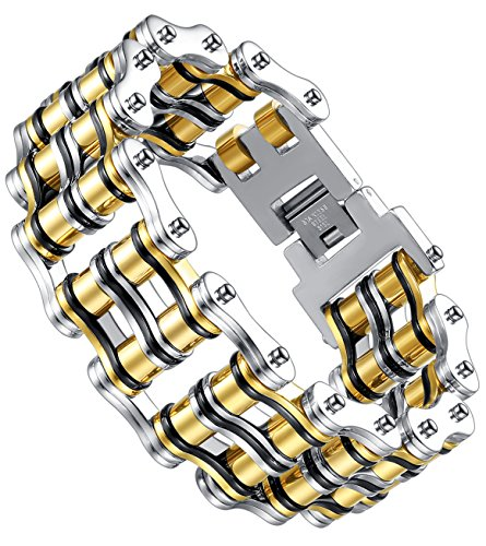 Aoiy Mens Stainless Steel Extra Large and Heavy Biker Bicycle Chain Bracelet