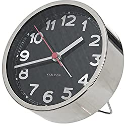 Present Time Karlsson Numbers Alarm Clock, Black