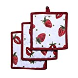 Pot Holders, Unique Berry Blast Design, Pot Holders Heat Resistant, Made of 100% Cotton, Eco-Friendly & Safe, Set of 3, Pot Holder size 8 x 8 inches, Pot Holders for Kitchen By CASA DECORS