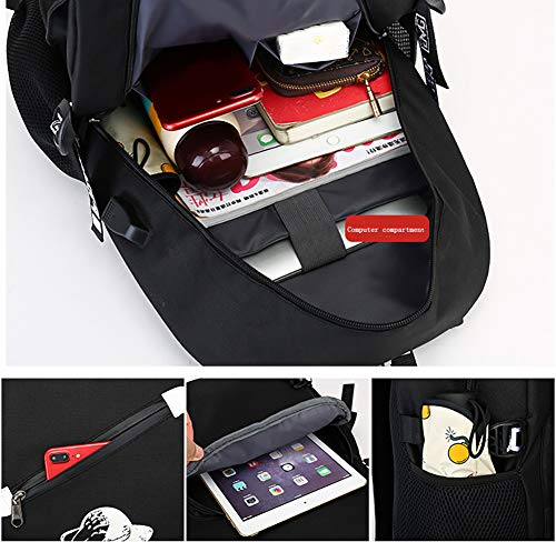 Bags Kpop Boys Charging Unisex Luminous Bangtan Usb 2 Schoolbagtravelling With Black Shoulder Sports Canvas 0x40g