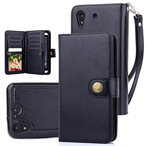 TabPow HTC Desire 530, 626, 626s Case, 10 Card Slot - ID Slot, Button Wallet Folio PU Leather Case Cover With Detachable Magnetic Hard Case For HTC Desire 530/ Desire 626/ Desire 626s - Black