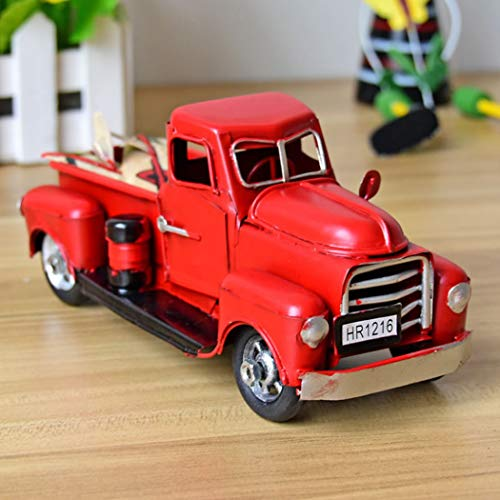 Gensuns Christmas Vintage Red Trucks Handmade Metal Old Car Model Red Pickup Trucks, Red Toy Trucks for Home Decorations Children Birthday (red)