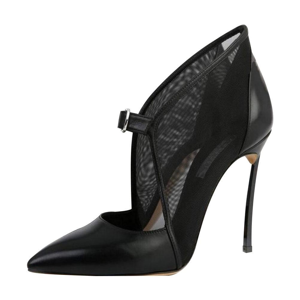 LVRXJP13 Femmes Les Les dames Bouche Peu Profonde Transparent Fil Fil Boucle Chaussures à Talons Sexy Sexy Fine Talon Pointu Grande Taille Chaussures Unique Noir, 35