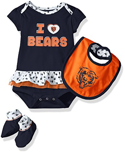 Chicago Bears Apparel Kids (NFL Girls Newborn Chicago Bears Team Love Onesie, Bib and Bootsies, 12 Months)
