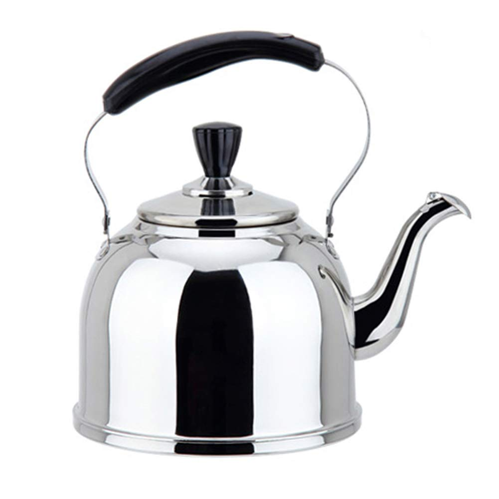 Stainless Steel Whistling Kettle Kitchen Home Camping Gas Hob, Silver Tea Kettle with Whistle Sound, 3L,4L,5L,6L by HLLXX