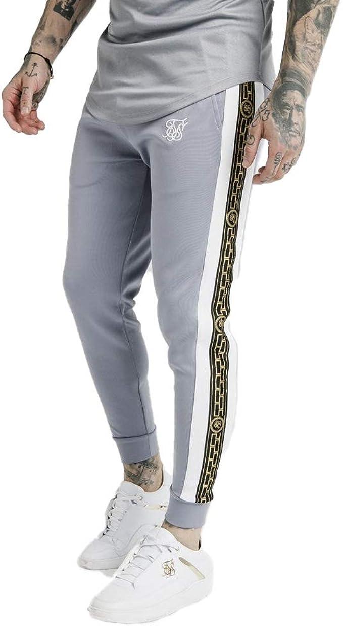 Sik Silk Panelled Racer Cuffed Joggers – Grey: Amazon.es: Ropa y ...