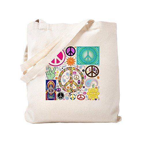 CafePress Peace Paisley Collage Natural Canvas Tote Bag, Cloth Shopping Bag