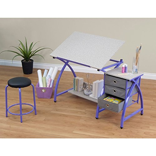 Studio Designs Purple Comet Center Hobby and Craft Table with Stool by Studio Designs