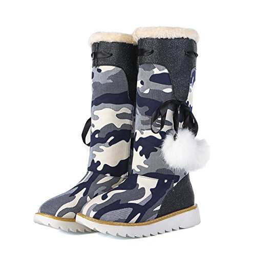 BLUE Keep Fall Comfortable Warm Non EUR42UK85 Knee Leisure Denim bottom NVXIE Womens High Flat Snow Camouflage Outdoor Winter Boots Thick slip v8BxwzHqwa