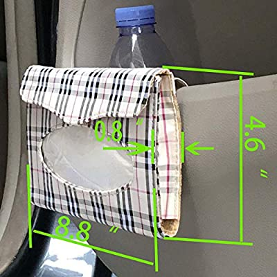 aipuya Car Sun Visor Tissue Holder 2 Pack Saving Space, The Clip on The Back can Hold The Visor or car Backseat Tightly (Grid, 2pc): Automotive