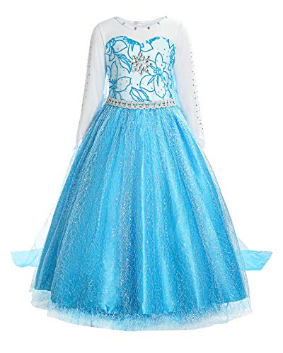 ReliBeauty Little Girls Snow Queen Princess Fancy Dress Elsa Costume, 7, Blue