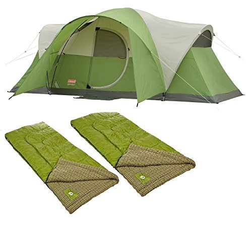 Bundle of 3 includes Coleman Montana 8-Person Tent and 2 Cool Weather Adult Sleeping Bag