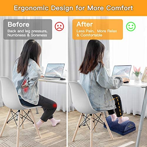 Adjustable Foot Rest – Foot Rest Under Desk Cushion Provides More Comfort for Legs, Ergonomic Footrest Cushion Reduces Pressure on Legs, Ideal for Airplane, Home and Office 510Lu6oWLHL