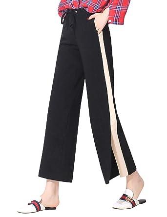 b4375f2064b Uaneo Women s Casual Elastic Waist Split Wide Leg Pants with Drawstring (X- Small