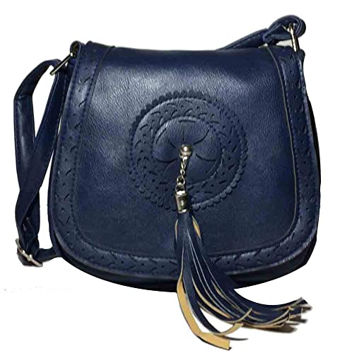 Péche Women s Boho Crossbody Bag. Faux Leather Shoulder Purse with Tassel (Navy  Blue) cc164763d0