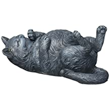 Design Toscano QL57117 Playful Cat on Back Statue Gray Stone, Gray