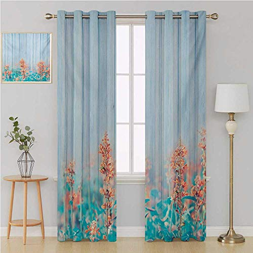 Floral grummet Curtain Blackout Window Curtain Panel, Solid Pattern,Flourishing Flowers Floral Blooms Garden Country House on Oak Plank Image Art Window Curtains 120 by 96 Inch Coral Sky Blue