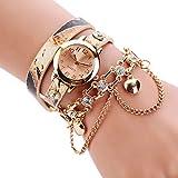Sannysis Women Leopard Band Bracelet Quartz Braided Winding Wrap WristWatch Beige