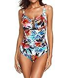 ECOFUN Women's Athletic Training Adjustable Strap One Piece Swimsuit Swimwear Bathing Suit White Flowers XL(US 14-16)