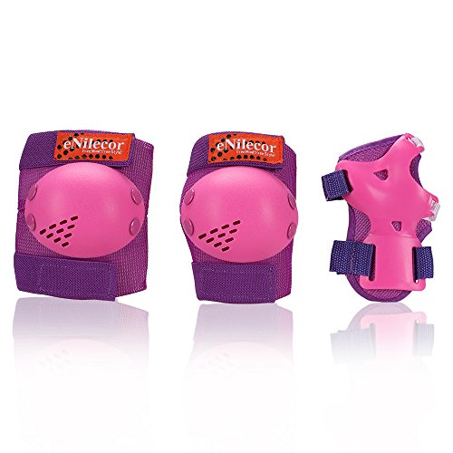 eNilecor Kids/Youth Rollerblade Roller Skates Cycling Knee Pads Elbow Pads Wrist Guards Protective Gear Set for BMX Bike Skateboard Inline Skatings Scooter Riding Sports (Purple/Pink, Small) by eNilecor (Image #1)