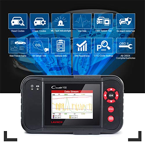 LAUNCH Black X431 Creader VIII (CRP129) OBD2 Diagnostic Scan Tool ENG/at/ABS/SRS Code Reader Scanner with EPB SAS Oil Reset Function by LAUNCH (Image #2)