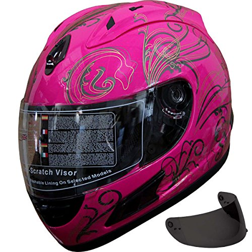 Motorcycle Street Sport Bike Helmet Full Face Helmet 2 Visors Comes with Clear Shield and Free Dark Tinted Shield (164 Pink, S) -