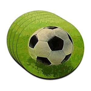Soccer Ball MDF Wood Coaster Set of 4
