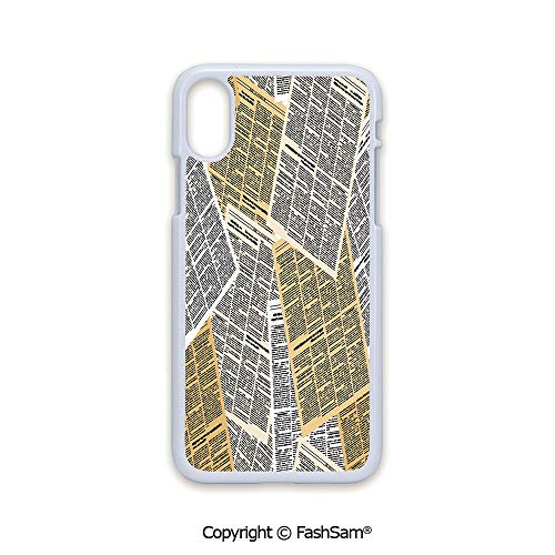 Fashion Printed Phone Case Compatible with iPhone X Black Edge Pages of Old Journals Magazines Columns Information Print Decorative 2D Print Hard Plastic Phone Case