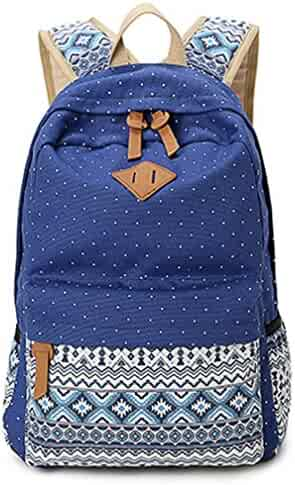 70a93c593f Dosane Stylish Unisex Canvas Dot Printing Lightweight College Backpacks  Book bags