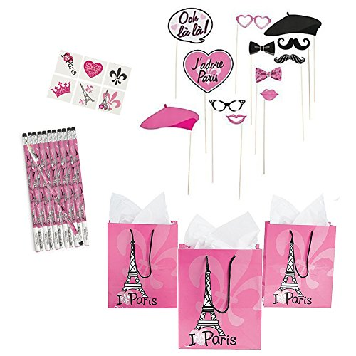 Eiffel Tower Party Favors (Perfectly Paris Party Favors Bundle - Gift Bags, Tattoos, Pencils, Photo Stick Props)