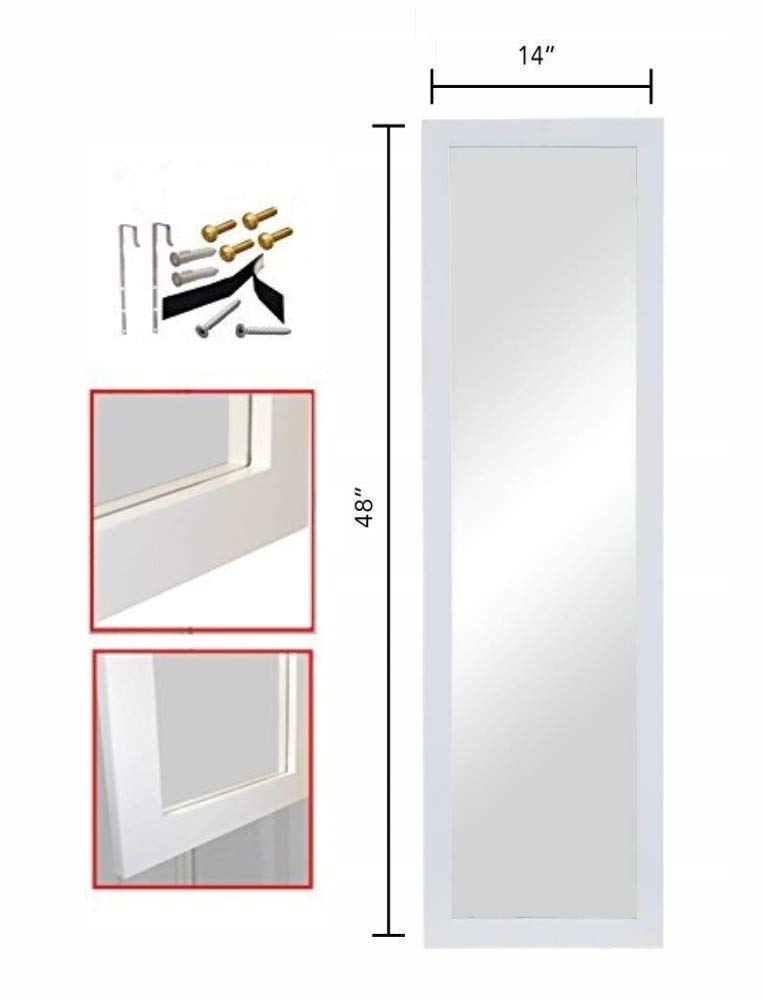 ProDecor Quality Furniture Wood Frame Full Length Wall Mirror, Over The Door Mirror Wall Rectangular - Size 14'' x 48'' - with Installation Hardware and Instructions Included - White, by ProDecor Home