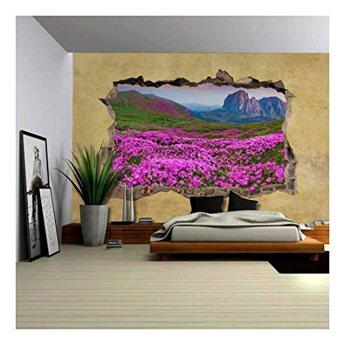 Majestic Mountain View in Spring Viewed Through a Broken Wall Large Wall Mural Removable Peel and Stick Wallpaper