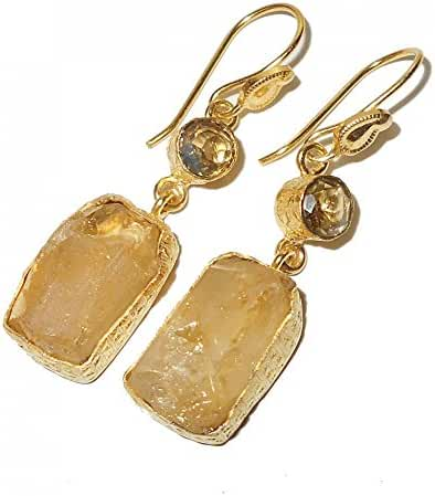 Handcrafted 22Karat Yellow Gold Vermeil Citrine Dangle Earrings