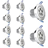 Modoao 10 Pack 5W 2700K LED Cool White Energy Saving Recessed Ceiling Downlight with LED Driver,Not Dimmable,Recessed Ceilling Spotlight
