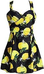Women\'s Plus Size Swimwear Elegant One Piece Swimdress Long Torso Swimsuits FBA Lemon Yellow 3XL(US12-14)